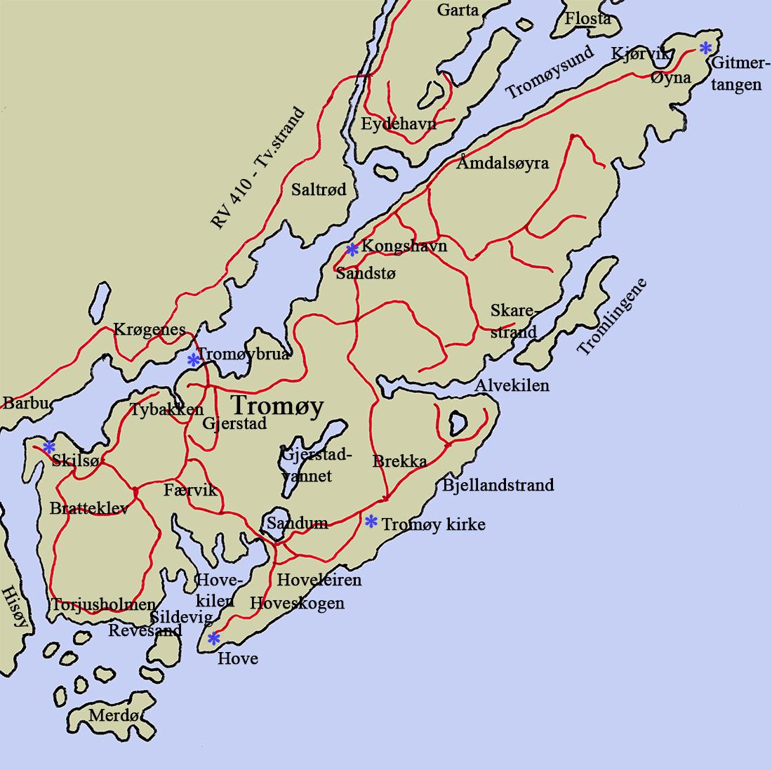 tromøya kart Tromøy tromøya kart